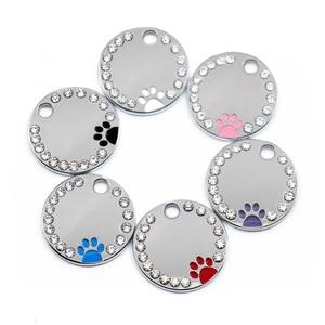 Image 1 - 100 Pcs del commercio allingrosso di Strass Carino Cerchio Zampa Inciso ID Dog Tag In Acciaio Inox FAI DA TE Dog id Tag Pet Shop Per cane Personalizzati