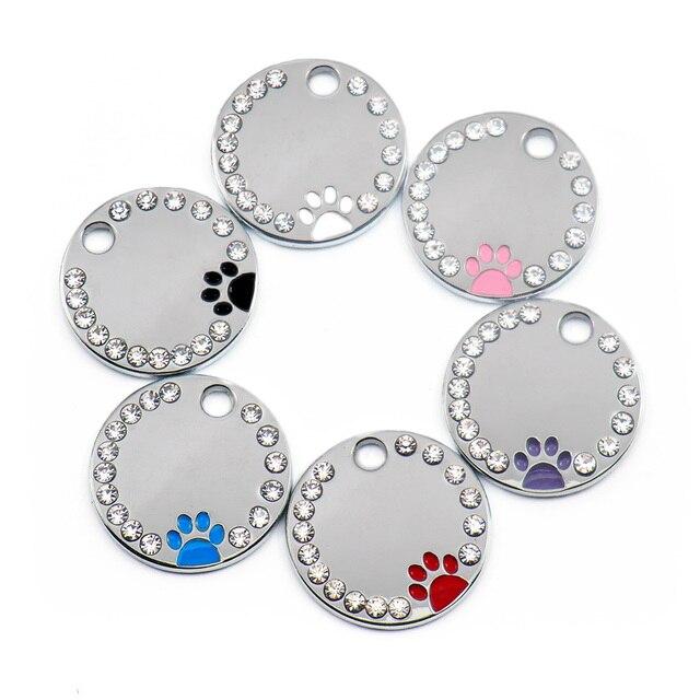 100 Pcs del commercio allingrosso di Strass Carino Cerchio Zampa Inciso ID Dog Tag In Acciaio Inox FAI DA TE Dog id Tag Pet Shop Per cane Personalizzati