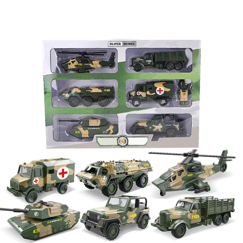6Pcs Kids Boys Simulate Pull Back Military Series Tanks Aircraft Cars Toys Set