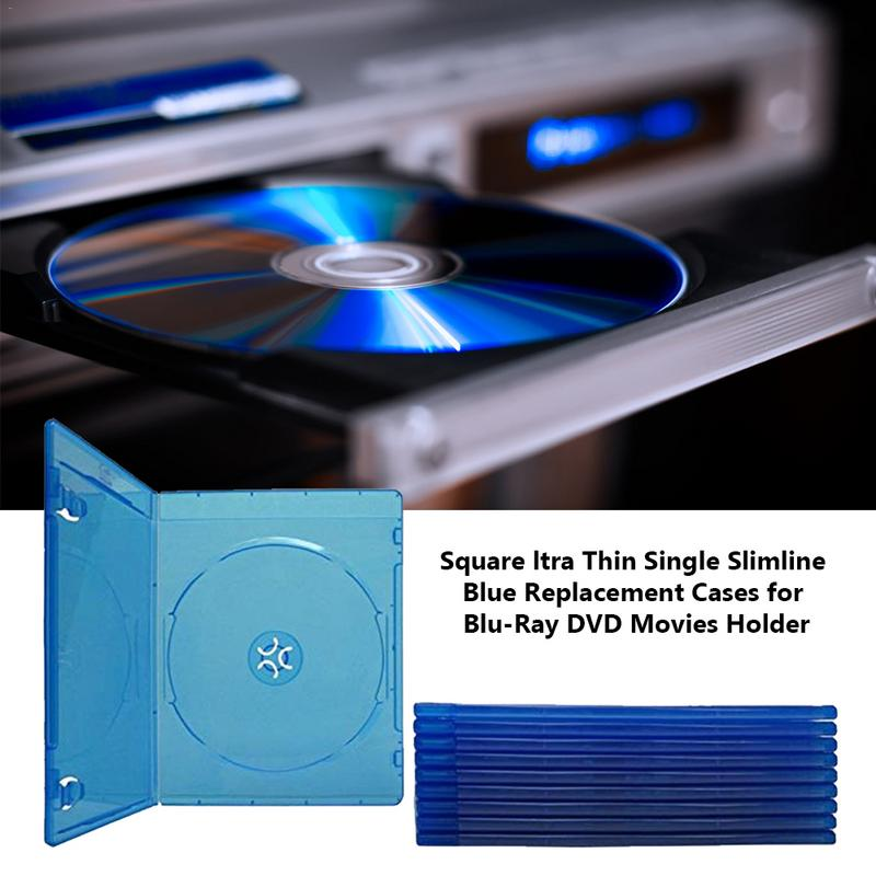 Blue Replacement Cases Square Ltra Thin Single Slimline Replacement Cases For Blu-Ray DVD Movies Holder 5 pics