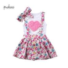 Pudcoco/ бренд, комплект одежды из 3 предметов с цветочным рисунком для маленьких девочек, футболка, топ, штаны/юбки, Комплект резинок для волос