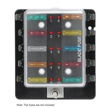 10 way 6v 12v 24v 100 amp mini blade fuse box holder with led warning light