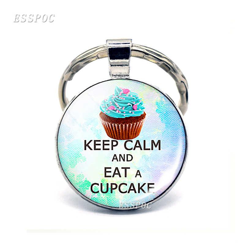 Giữ Bình Tĩnh và Thực Hiện trên Tình Yêu Mèo Chó Cà Phê Cupcake Quote Keychain Mặt Dây Chuyền Kính Cabochon Đồ Trang Sức Vòng Chìa Khóa Xe Phụ Nữ người đàn ông Quà Tặng