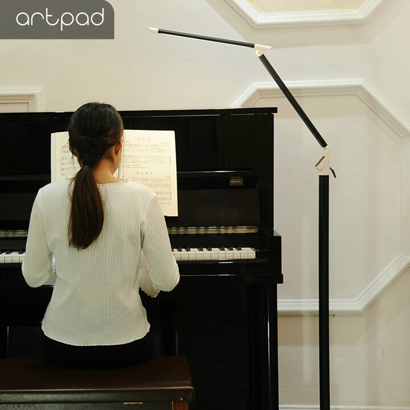Artpad 12 W LED moderne Piano lampe noir blanc Aluminium debout étude bureau lampadaire avec Remore contrôle tactile variateur