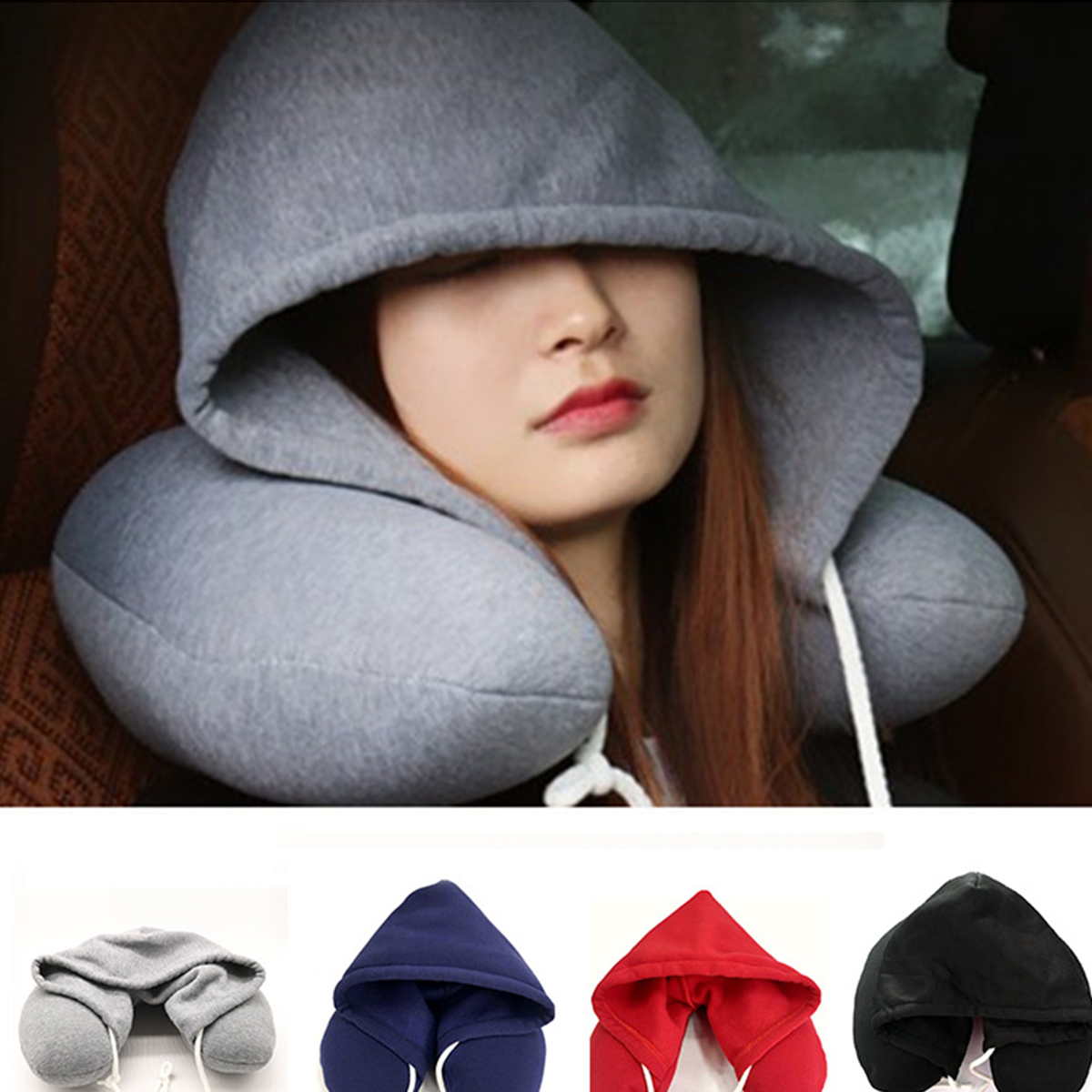 nosii soft u type neck pillow hoodie microfiber neck rest pillow with drawstring travel afternoon nap