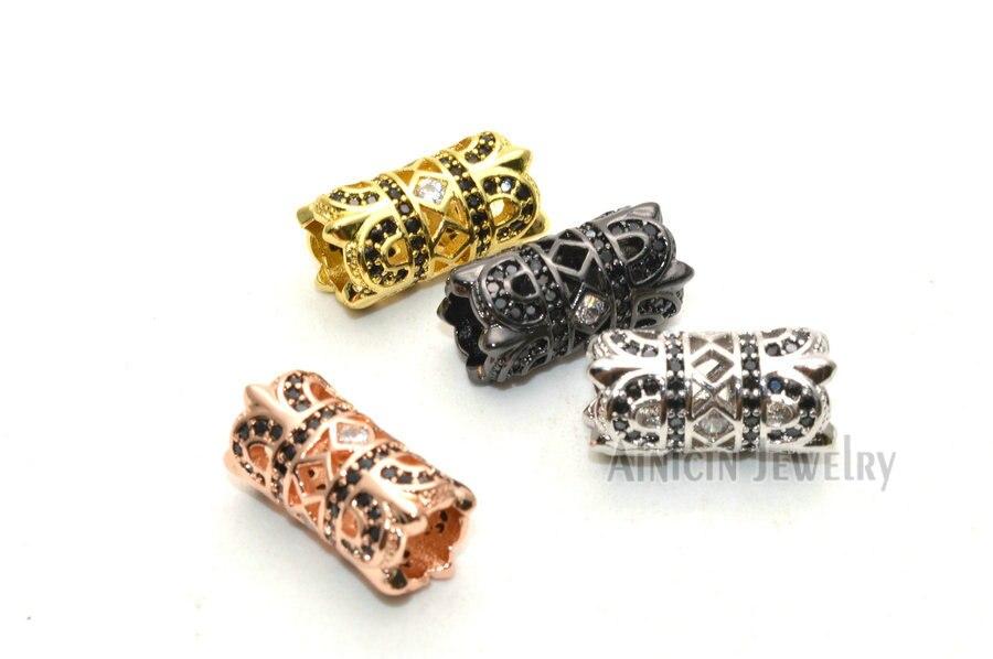 Strass Cristal Réglage Évider Grand Trou Tube Connecteurs Or Argent Gun Raccords de Tuyaux Métalliques Pour La Fabrication de Bracelets 30 pièces - 3