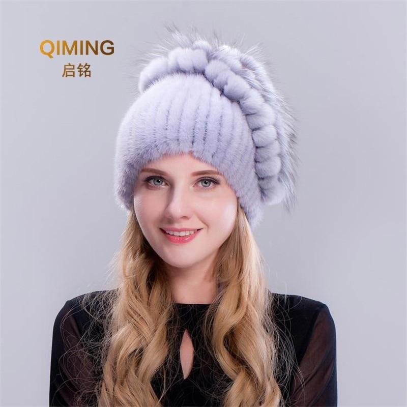 New Women Winter Mink Pom Pom Knitted Hat Keep Warm Set Head  Beanie Earmuffs Woman Tide Cap Flower Fashion Fur Pompom Bonnets