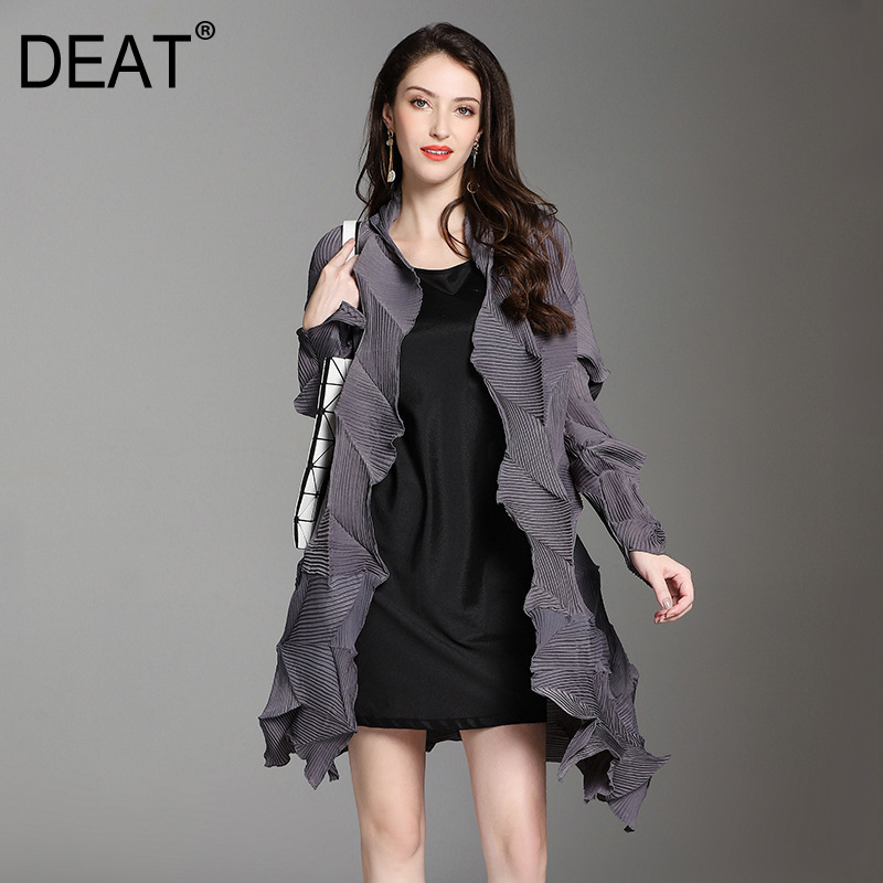 DEAT 2019 New Spring Winter V collarl Long Sleeve Black Fold Irregular Big Size Pleated