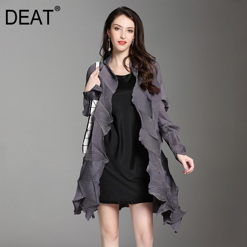 DEAT 2019 New Spring Winter V collarl Long Sleeve Black Fold Irregular Big Size Pleated