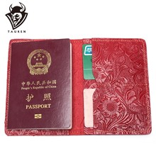 Flower Passport Wallet Men Genuine Leather Travel Passport Cover Case Document Holder Large Capacity Credit Holder Purse(China)