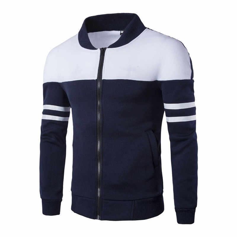 2019 весна осень мужские куртки для гольфа пальто В Полоску Пэчворк приталенные куртки для мужчин повседневная спортивная куртка мужская спортивная одежда топы