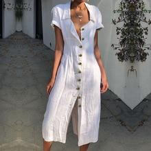 Women Sexy Split Dress ZANZEA Fashion Ladies Summer Sundress Sarafans Long Shirt Vestidos Buttons Down Work Robe Femme Plus Size