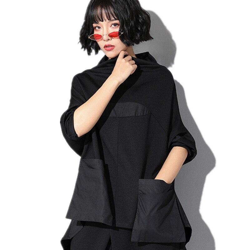 #1495 t-shirt noir manches longues chauve-souris femmes col roulé lâche printemps 2019 poches avant tuniques femmes épissées queue d'aronde Streetwear