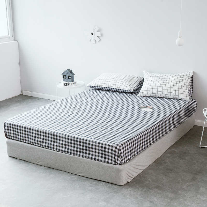 1pcs 100%Cotton Black & White Fitted Sheet Mattress Cover Four Corners With Elastic Band Bed Sheet 75