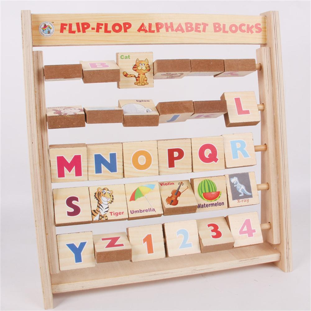 Children Early Educational Toy English Alphabet Animals Wooden Flap Rack Vertical Bookshelf Shape