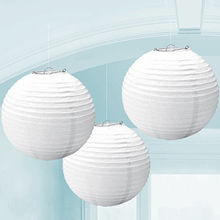10PCS White Color Chinese Paper Lanterns Round Hanging Ball Lamps for Wedding Party Decoration