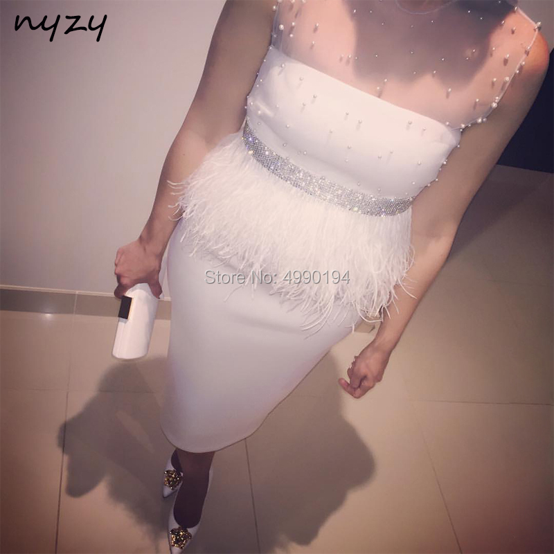 NYZY C27 vestido coctel mujer elegant Off White Pearls Crystal Feather   Cocktail     Dress   Party Evening robe de soiree courte 2019