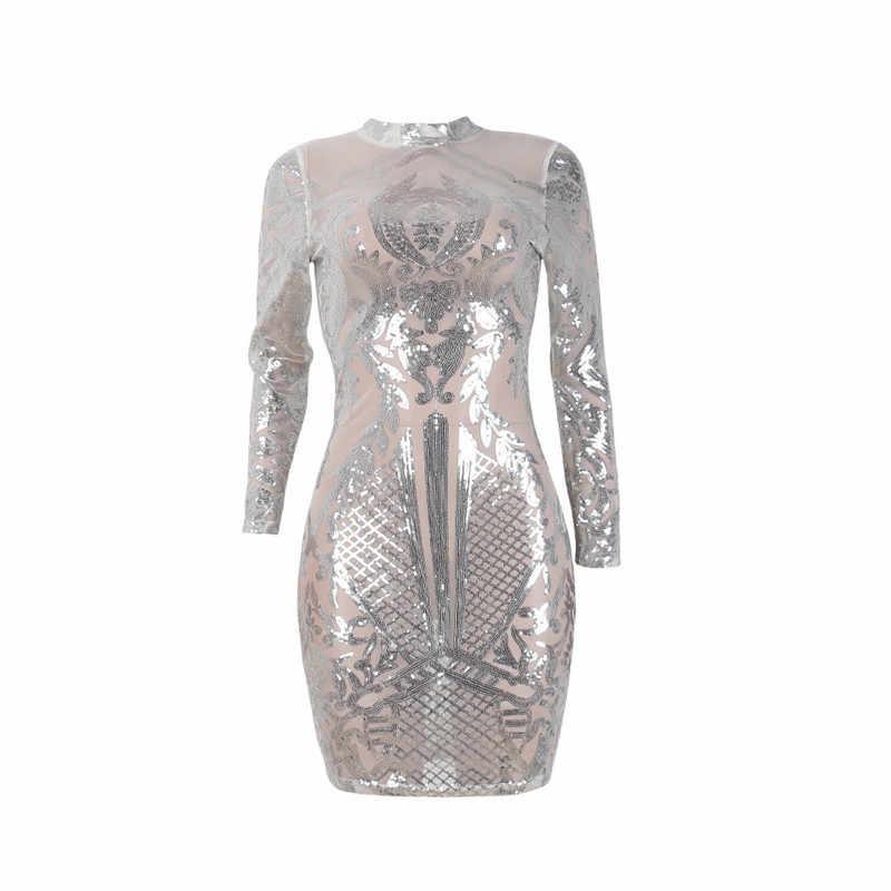 ... Silver Sparkly Bodycon Dress Long Sleeve Women Sequin Dress Transparent  Winter Elegant Sexy Night Club Mesh ... 4221d47c574e