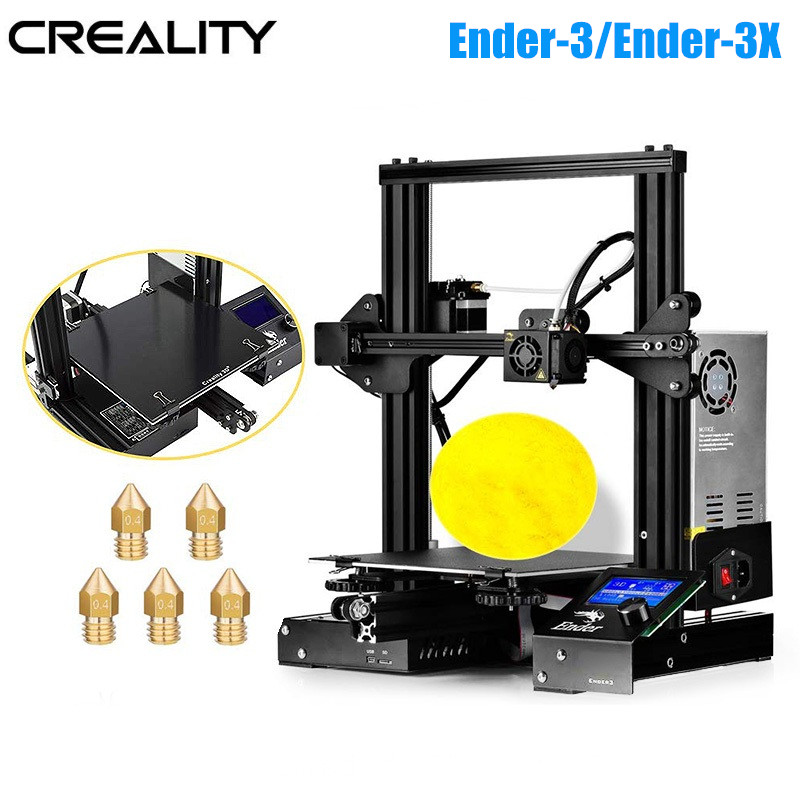 Creality 3D Ender 3/Ender 3X V slot Prusa I3 DIY 3D Printer Kit 220x220x250mm MK8 Extruder 1.75mm 0.4mm Nozzle Printing DIY KIT