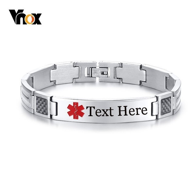 Vnox Free Engraving Disease Name Ice Info Medical Bracelets For Men Stainless Steel Id Tag Male