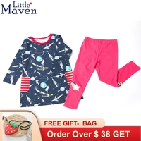 Little Maven Baby Girls Clothing Set Dress Sets With Spaceman Print Tops and Rose Legging Rainbow Star Embroidery Child Cloth