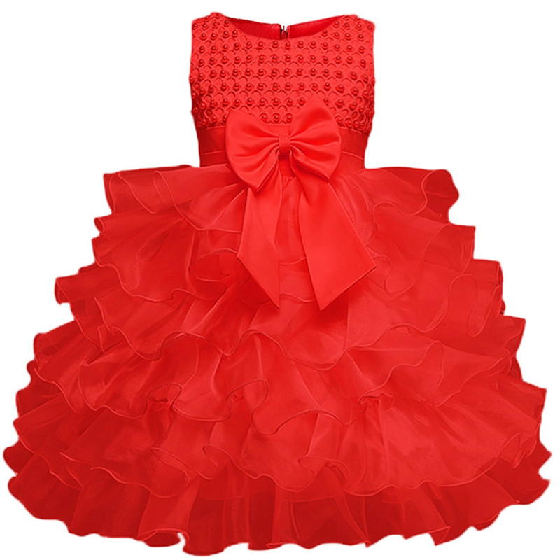 Baby Girl Baptism Dress Toddler Christening Red Gown Infant Tulle Kids Party Dresses For Little Girls 1 Year Birthday
