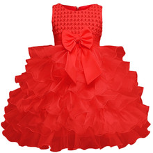 Baby Girl Baptism Dress Toddler Girl Christening Red Gown Infant Tulle Kids Party Dresses For Little Girls 1 Year Birthday цена