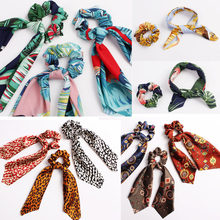 Floral Leopard Scrunchies Hair Scarf Elastic Boho Streamers Bow Hair Rope Ties Scrunchie Ponytail Holder for Hair Accessories(China)