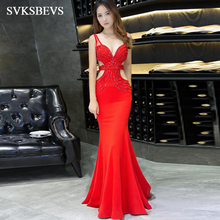 SVKSBEVS 2019 Sexy Deep V Neck Luxury Crystal Mermaid Long Dresses Elegant Party Hollow Out Backless Maxi Dress svksbevs luxury crystal sexy deep v neck mermaid long dresses elegant spaghetti strap backless party maxi dress