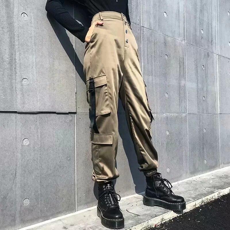 Women Satin Cuffed Trouser Cargo Pant