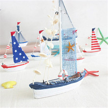 15CM Mediterranean Style Wood Sailing Ship Models Furnishing Articles Originality Boat Nautical Home Decoration Gifts Crafts