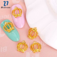 Blueness 10Pcs Lot 3D Hollow Out Crown Nail Art Decorations Glitter Gold  Cross Charms 51ce05ab5bcd