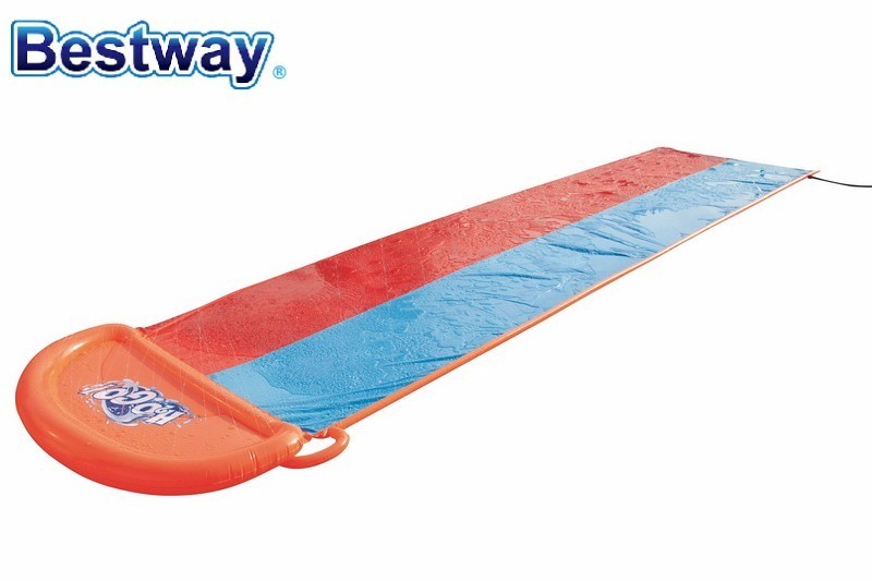 W0 52208 Bestway 5.49M Long Double-Lane Water-Spray Slide Toy 2-Lane-Slider Racing With A Friend Soft Landing Smooth & Fast Ride