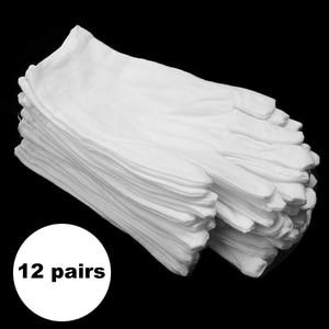 Image 3 - 12 زوج/وحدة بيضاء لينة القطن قفازات الاحتفالية لمط بطانة قفاز للذكور الإناث تخدم/النادل/السائقين قفازات