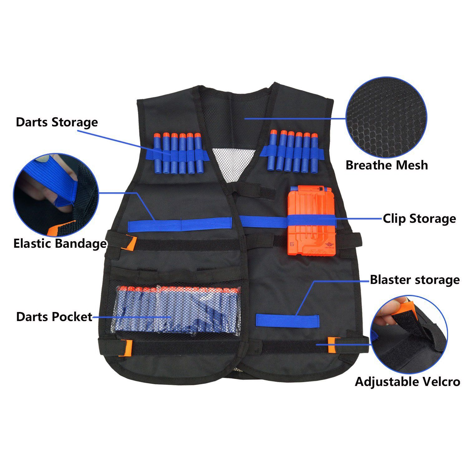 Camping & Hiking 54x47cm Children Kids Black Tactical Vest Jacket Waistcoat Ammo Holder Lite Pistol Bullets Toy Clip Darts For Nerf Dropshipping
