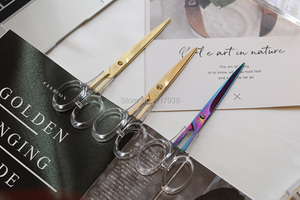 Image 2 - Ciseaux acryliques colorés en or, fournitures de bureau pour étudiants, accessoires en métal transparent