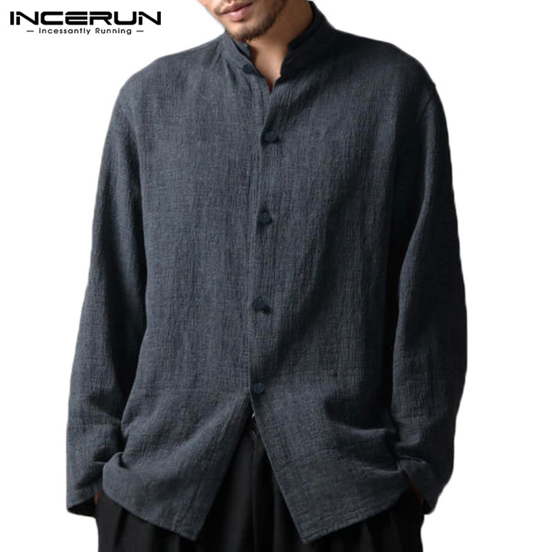 INCERUN Chinese Style Mens Shirt Cotton Linen Button Long Sleeve Camisa Masculina Baggy Stand Collar Vintage Casual Men Shirts in Casual Shirts from Men 39 s Clothing