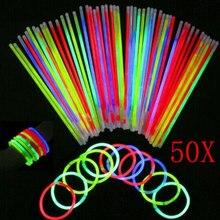 50 Pcs Glow Sticks Bracelets Necklaces Party Fluorescent Neon Colors Xmas Wedding Decal YJS Dropship