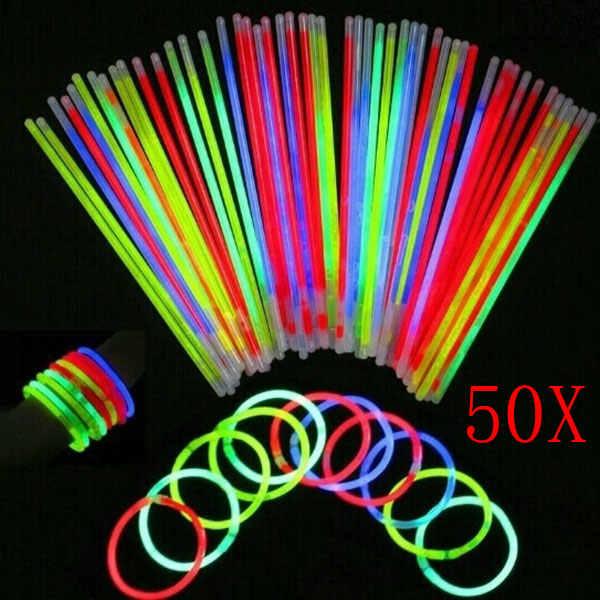 50 Pcs Glow Sticks Bracelets Necklaces Party Fluorescent Neon Colors Xmas Party Wedding Decal YJS Dropship