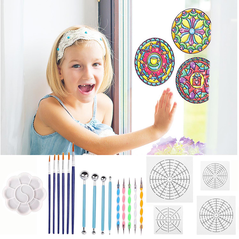 25Pcs Art Supplies Mandala Dotting Tools Stencil Painting Tool Kits Brushes Tray