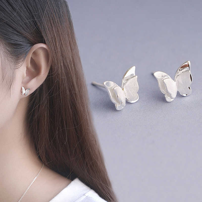 Women 1Pair Girls 2019 New Arrival Fashion Jewelry Beautiful Stud Earring Small Valentines Gift Drawbench Butterfly Cute Silver