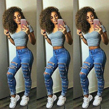 NEW Fashion Sexy High Waist Hole Stretch Trousers Slim Pencil Jeans Women Denim Skinny Pants Blue