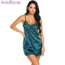 Avidlove Mulheres Sexy Camisola de Renda Com Decote Em V Camisola Trecho  Mini Vestido Pijamas Sexy Lingerie Plus Size Roupa de D.. 4ff343d1751