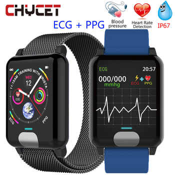 Chycet Smart Bracelet ECG PPG Blood Pressure Measurement Watch Women Heart Rate Monitor Fitness Band With Activity Tracker - DISCOUNT ITEM  10% OFF All Category