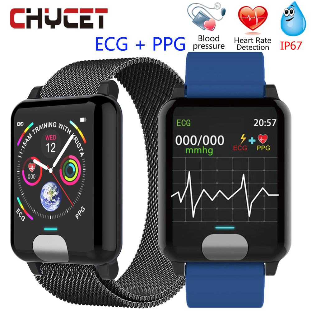 Pulsera inteligente Chycet ECG PPG reloj de medición de la presión arterial para mujeres Monitor de ritmo cardíaco banda de Fitness con rastreador de actividad Correa de reloj de cerámica de 20mm 22mm para reloj de ritmo AMAZFIT/reloj inteligente Amazfit Stratos 2/Bip Amazfit reloj correa de cerámica de alta calidad