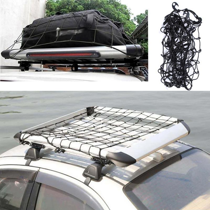 2019 Car SUV Truck Trailer Cargo Car Roof Rack Basket Organizer Net Car Roof Bag Multipurpose Elastic Mesh Luggage Rope Cover image