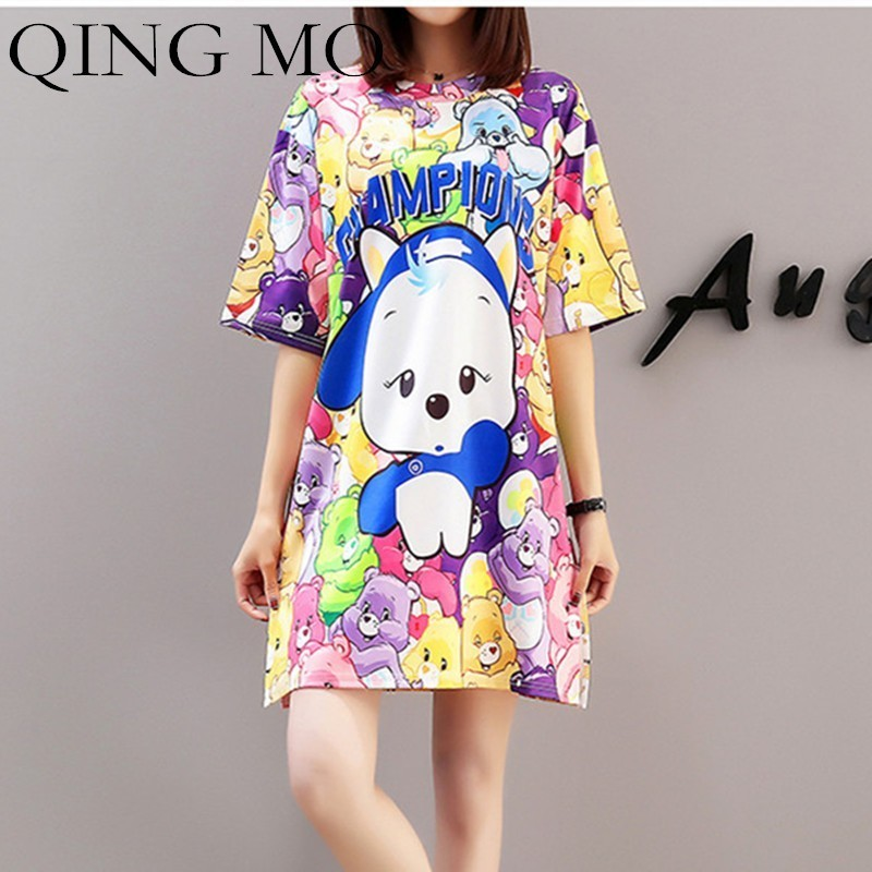 QING MO Cartoon Print Dress Women Oversize T Shirt Dress Summer Casual Short Sleeve Dress Women