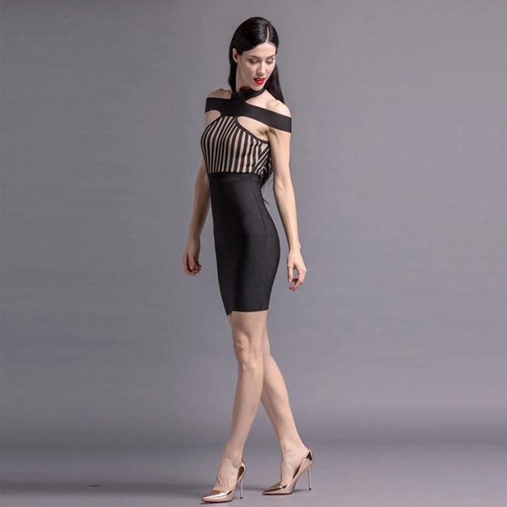 Noire Clubwear Bandage Moulante D002 Kaouyou L'épaule Robes Soirée Dames Mini Femmes De Robe Bande Hors wAqFvwO