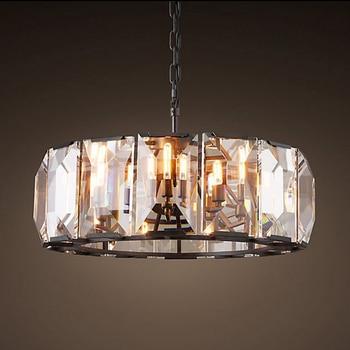 Retro Amerikan Kare Kristal Kolye Işık Siyah Demir Yemek Odası Için Restoran Yatak Odası Çalışma Odası Oturma Odası LED E14 ampuller