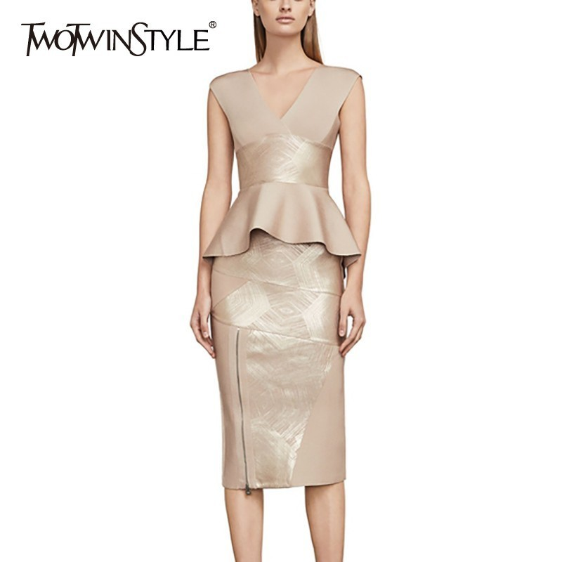 TWOTWINSTYLE Slim Solid Women Suit Off Shoulder Backless V Neck Ruffles Tops Bodycon Sexy Skirt Two